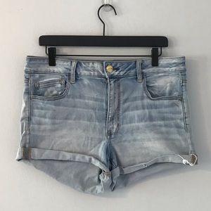 AEO light wash super stretch shorts